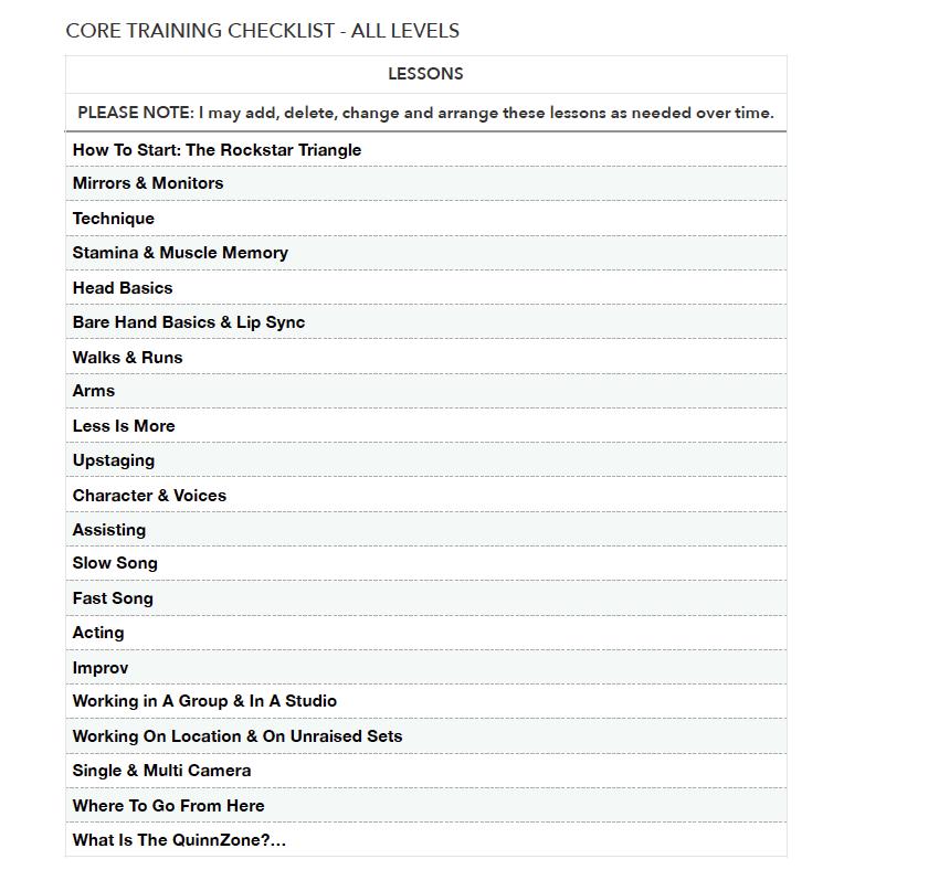 Core Training List