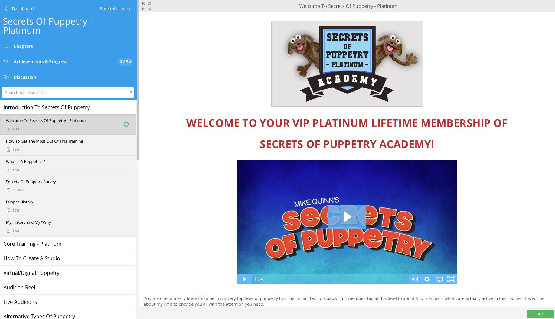 Screen Shot Platinum Members Area